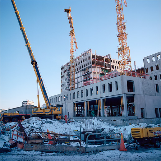 Surrounding offices and parts of the Mall of Scandinavia being built at Arenastaden, Solna, January 2011.