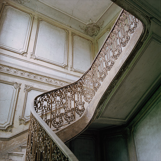 The stairway at Château Chevalier Croquis. France.