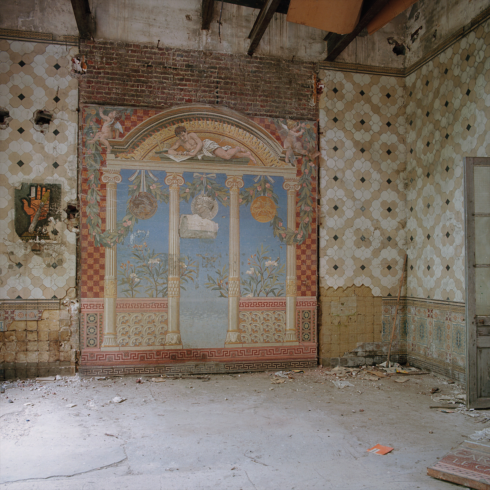 Quite possibly the old showroom. Parts of the mosaics have been removed at Kakelfabriken / The Tile Factory. France.