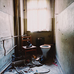 Badtoilet with a view at Hospital T in former DDR, Germany.