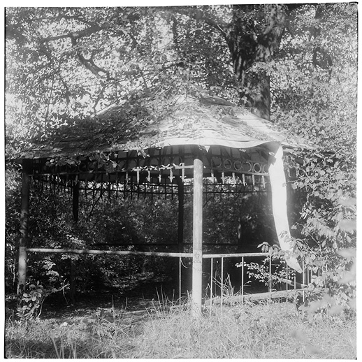 Gazebo by the hospital barracks at Soviet Military Base SW. Former DDR, Germany. October 2014.
