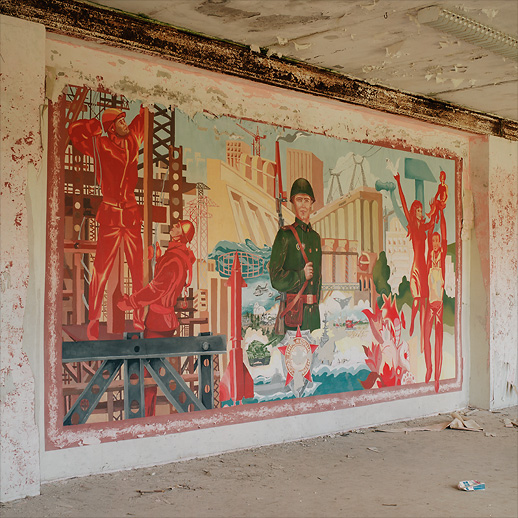 Invigorating mural in the hospital building at Soviet Military Base V. Former DDR, Germany. October 2011.