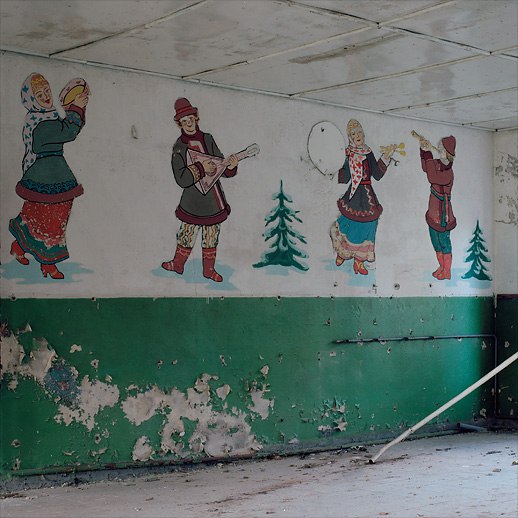 Dining room wall deco at Soviet Military Base V. Former DDR, Germany. October 2011.