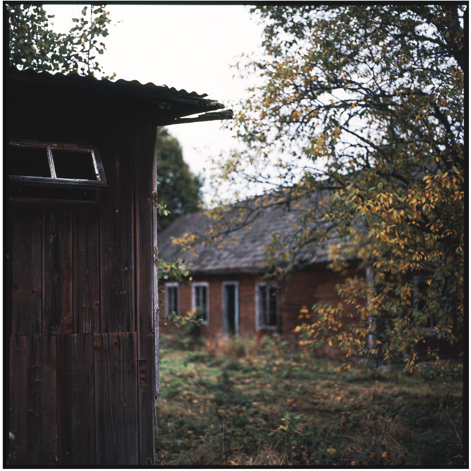 Worker's housing outhouse at Tidafors, Värmland, Sweden. September 2007.